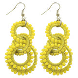Yellow Beaded Circles Earrings