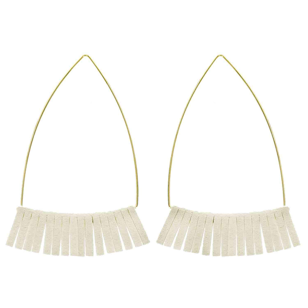 Gold and Ivory Leather Triangle Earrings - Katydid.com