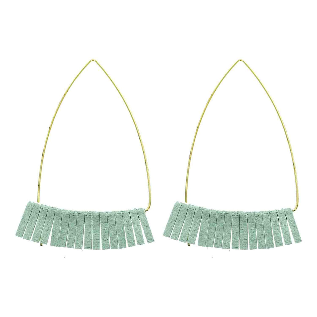 Gold and Mint Leather Triangle Earrings - Katydid.com