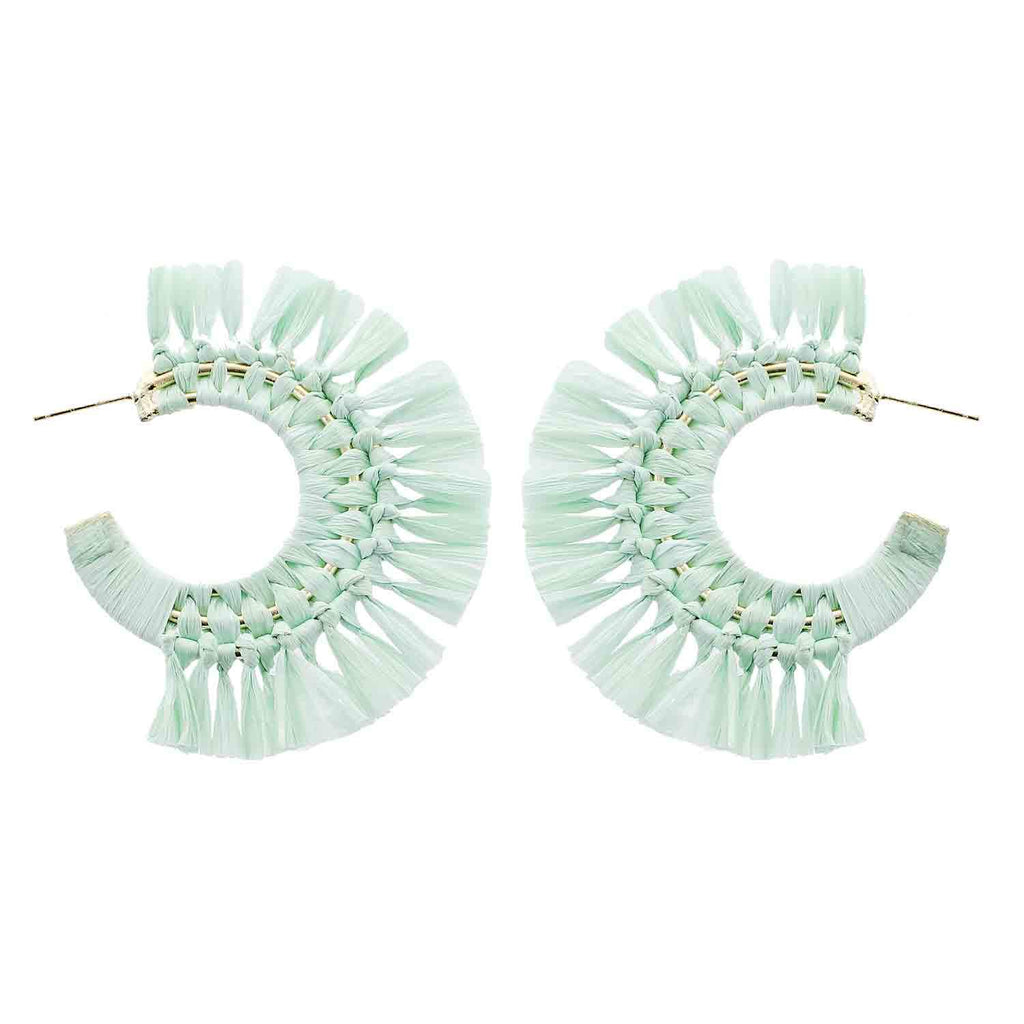 Mint Green Raffia Hoop Earrings - Katydid.com