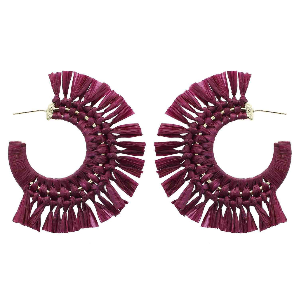 Purple Raffia Hoop Earrings