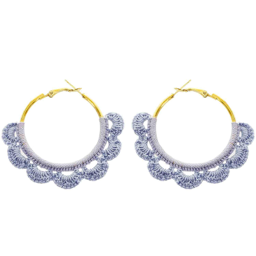 Blue Crochet Hoop Earrings - Katydid.com