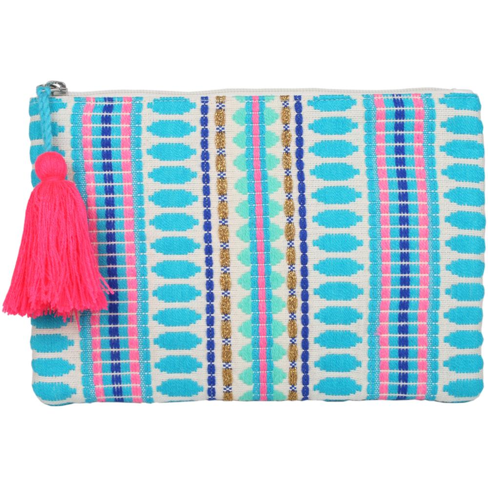 Katydid Pocketbook /Clutch Purse - Blue Stripes/Oval - Katydid.com