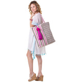 Katydid Pink, Silver & Gold Metallic Handbags or Beach Bag