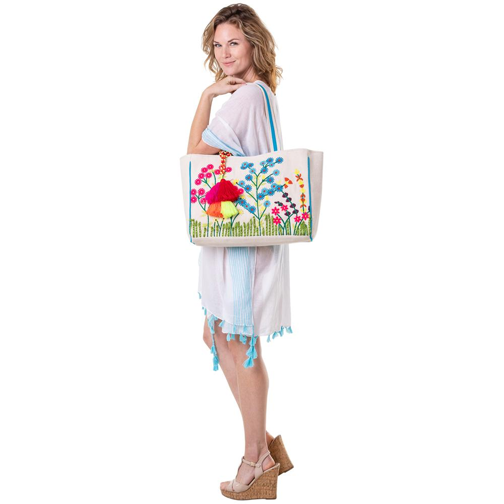Embroidered Floral Handbags or Beach Bag