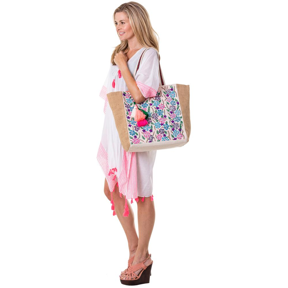 Embroidered Flower Handbags or Beach Bag