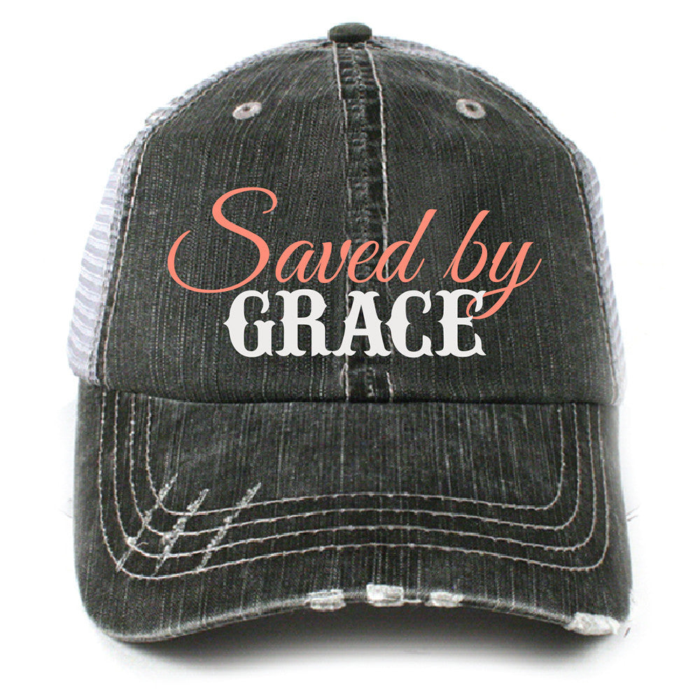 Saved by Grace Christian Trucker Hat - Katydid.com