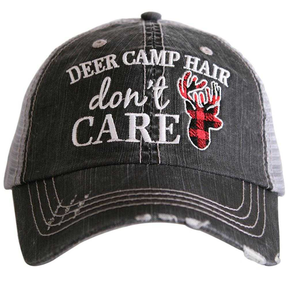 Deer Camp Hair Don't Care Trucker Hat - Katydid.com