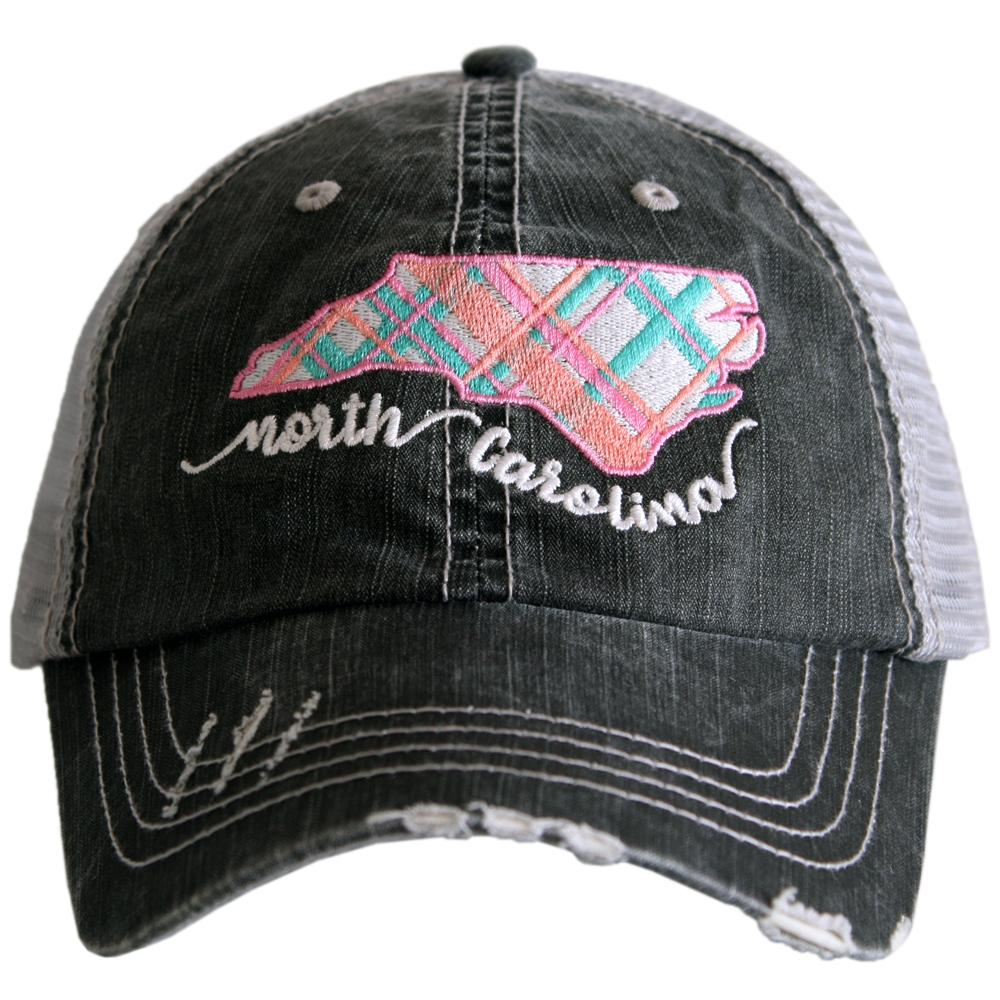 Katydid North Carolina Pastel Plaid Trucker Hats - Katydid.com