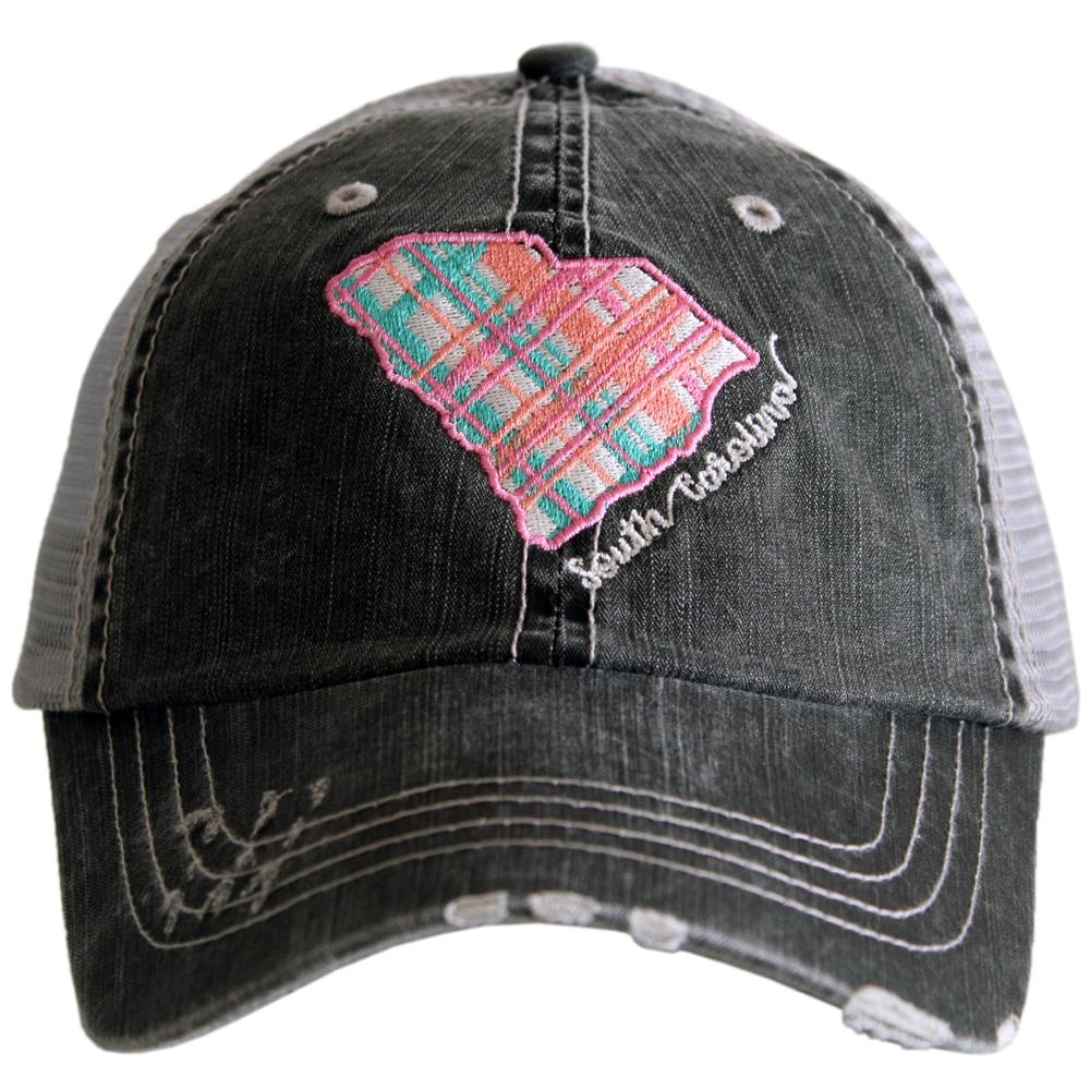 Katydid South Carolina Pastel Plaid Trucker Hats - Katydid.com