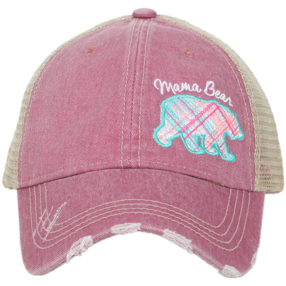 Mama Bear PLAID PASTEL Side Panel Trucker Hat - Katydid.com