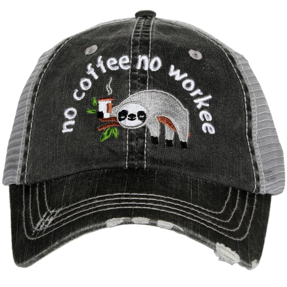 Katydid No Coffee No Workee Sloth Trucker Hats - Katydid.com