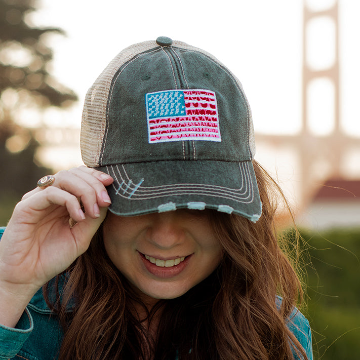 American Flag Women's Trucker Hats