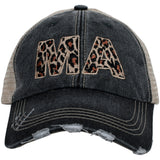 MA Massachusetts Leopard State Women's Trucker Hat