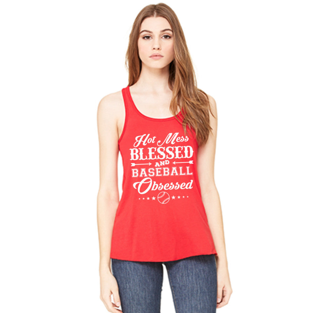 Hot Mess Blessed and Baseball Obsessed Baseball Tank Top - Katydid.com