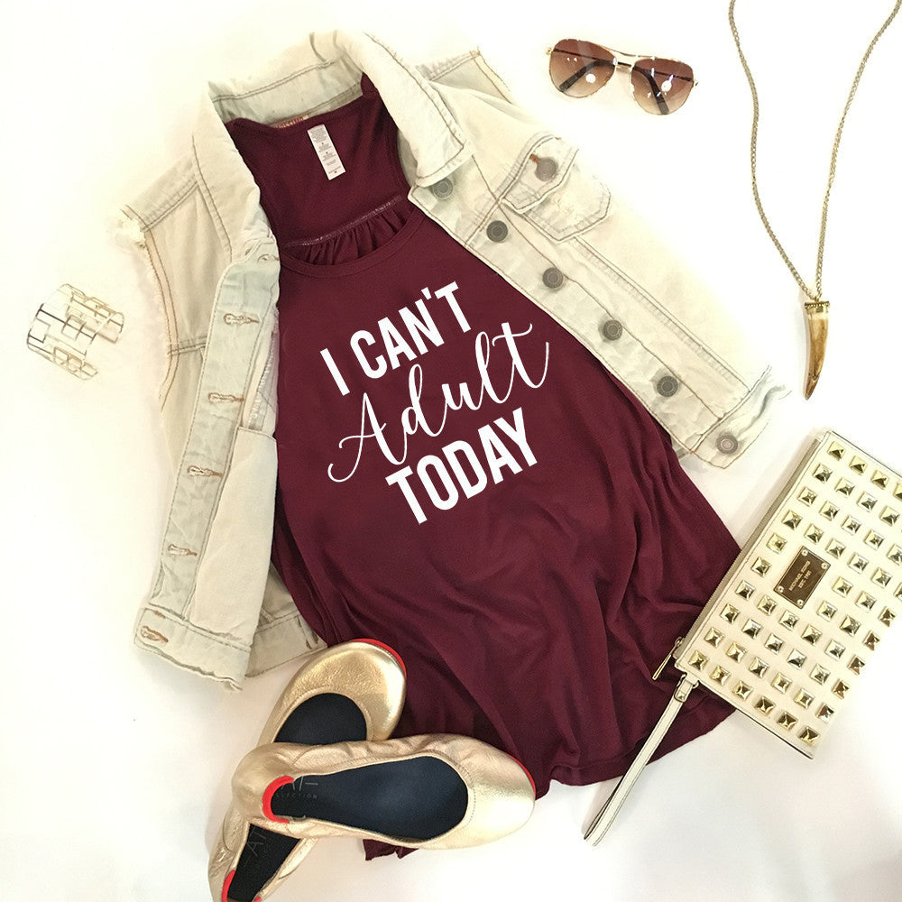I Can't Adult Today Graphic Tank Top - Katydid.com