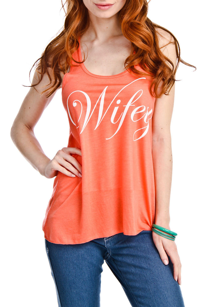 Wifey Graphic Print Tank Top