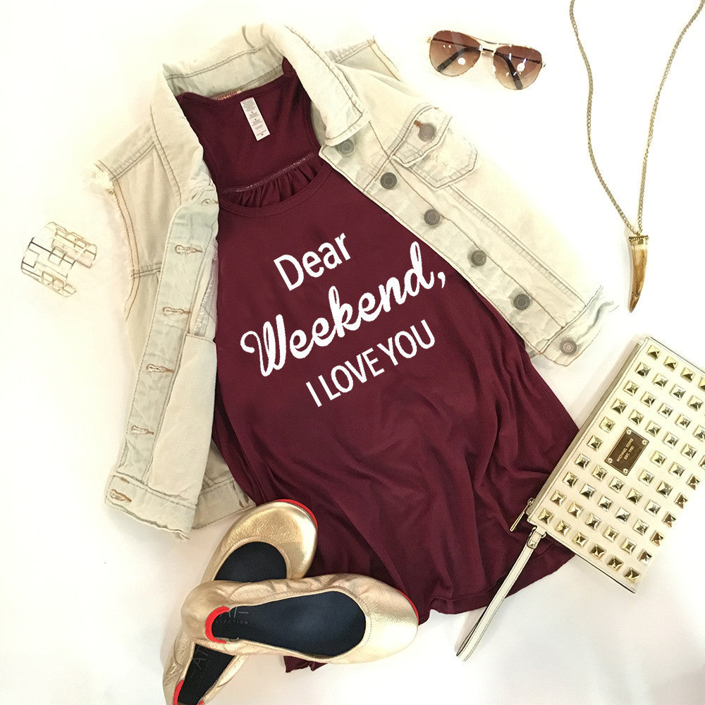Dear Weekend I Love You Graphic Print Tank Top - Katydid.com