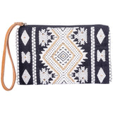 Black and White Geometrical Wristlet with Leather Strap