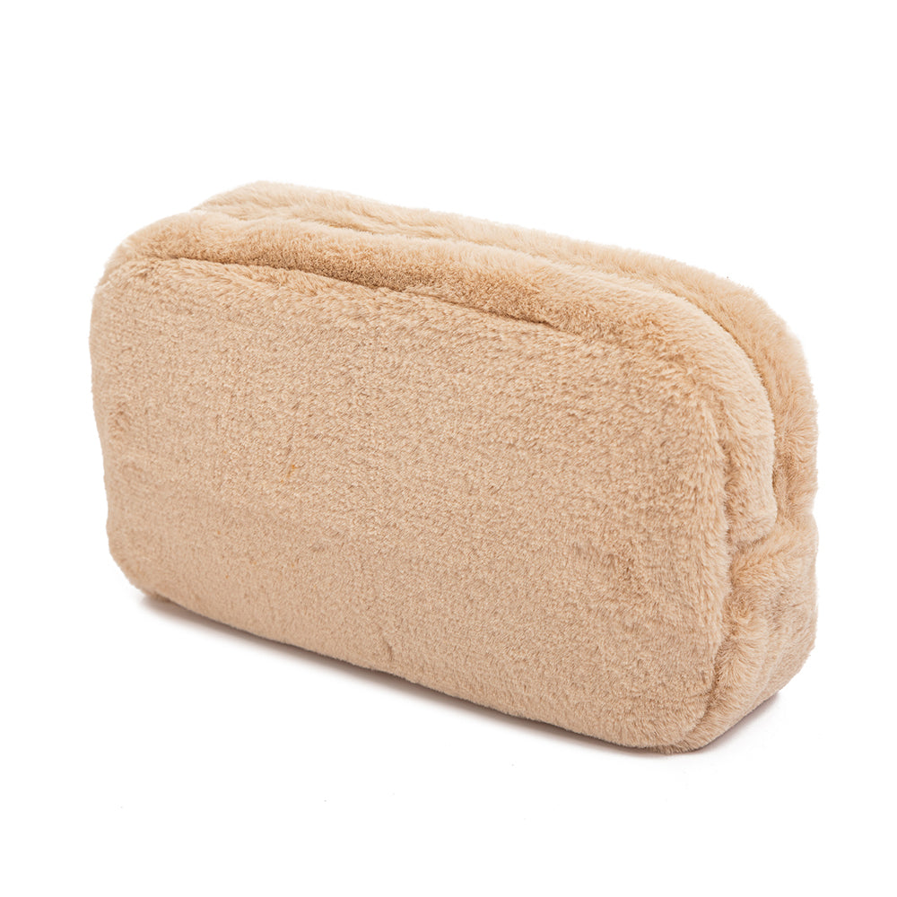 Tan Faux Fur Makeup Bags