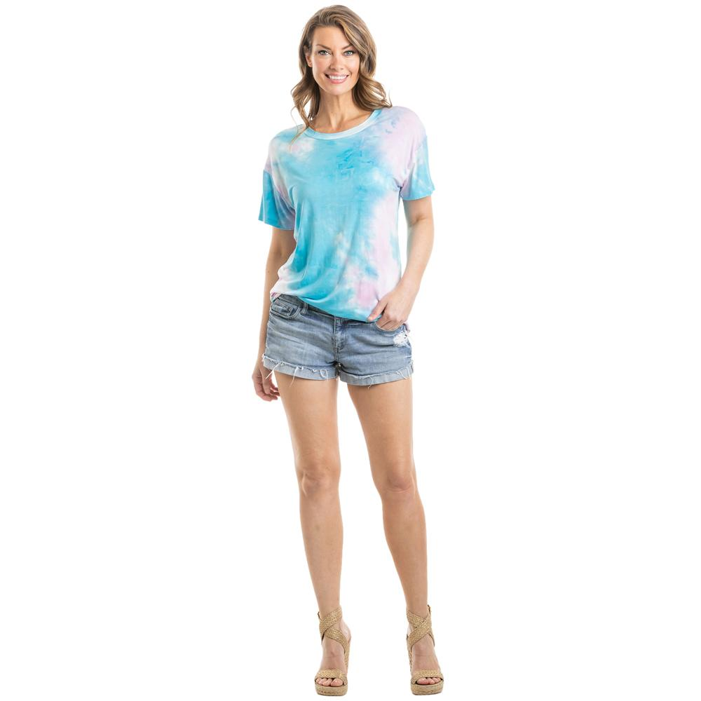 Teal, Pink, and White Tie Dye T-Shirt