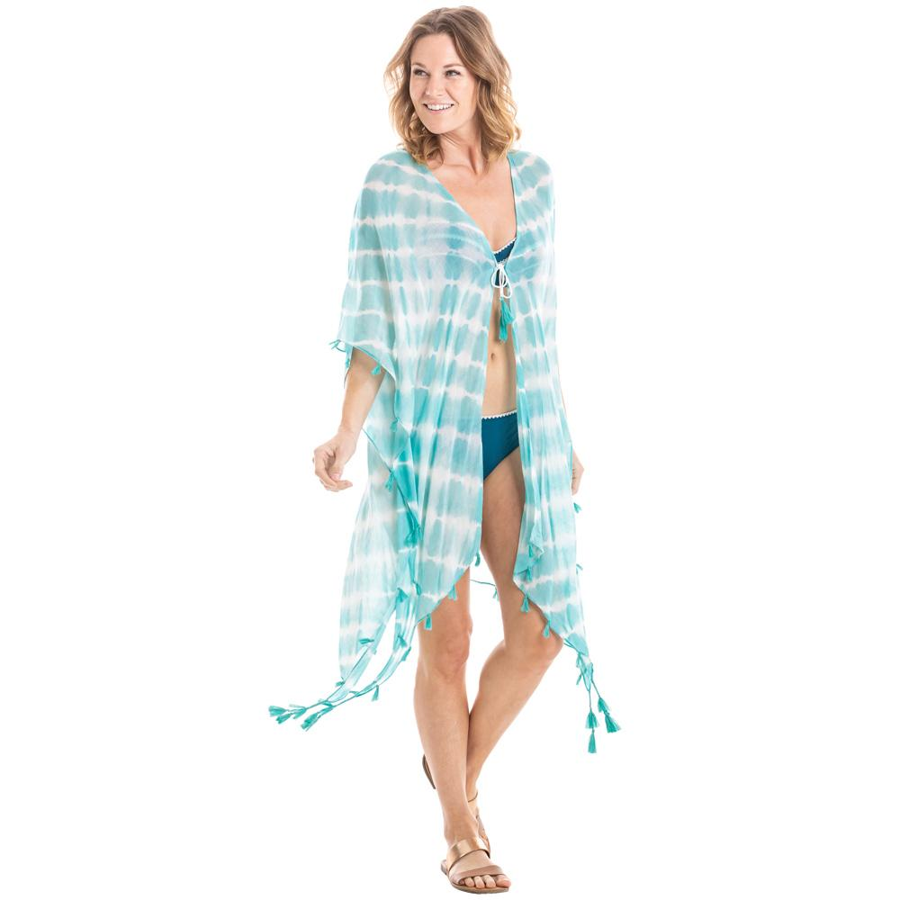 White and Mint Tie Dye Swimsuit Cover Ups