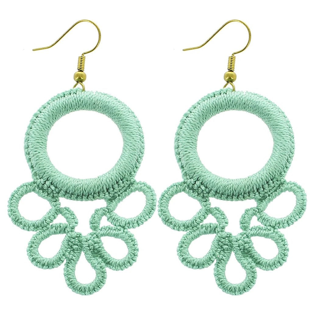 Mint Circle Wrapped Earrings