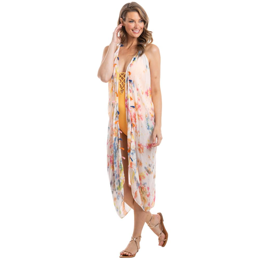 Multicolored Sleeveless Tie Dye Swimsuit Cover Ups