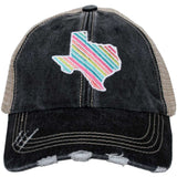 Texas Shape Rainbow Striped Trucker Hats