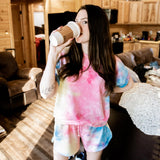 Pink, Yellow, and Blue Tie Dye Loungewear Set