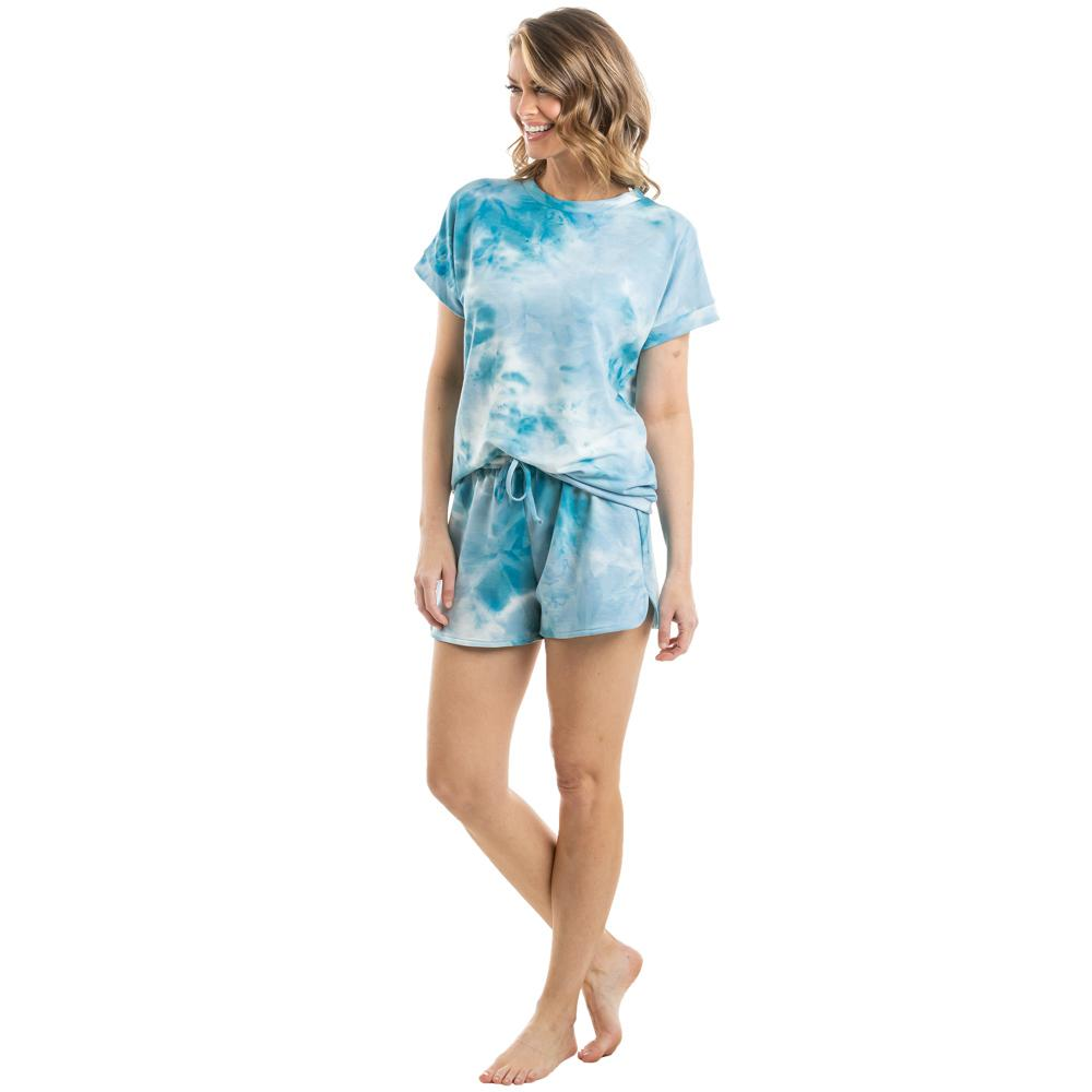 Teal and White Tie Dye Loungewear Set