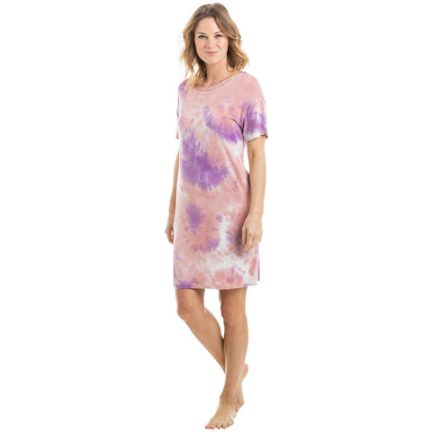 Teal, Pink, and White Tie Dye T-Shirt Dress