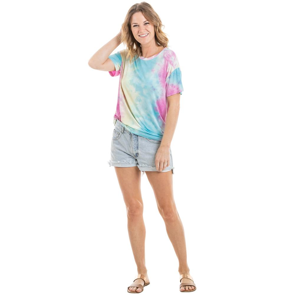 Blue, Pink, and Yellow Tie Dye T-Shirt