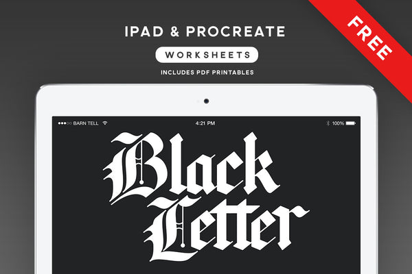 Blackletter Brushes & Worksheets for Procreate