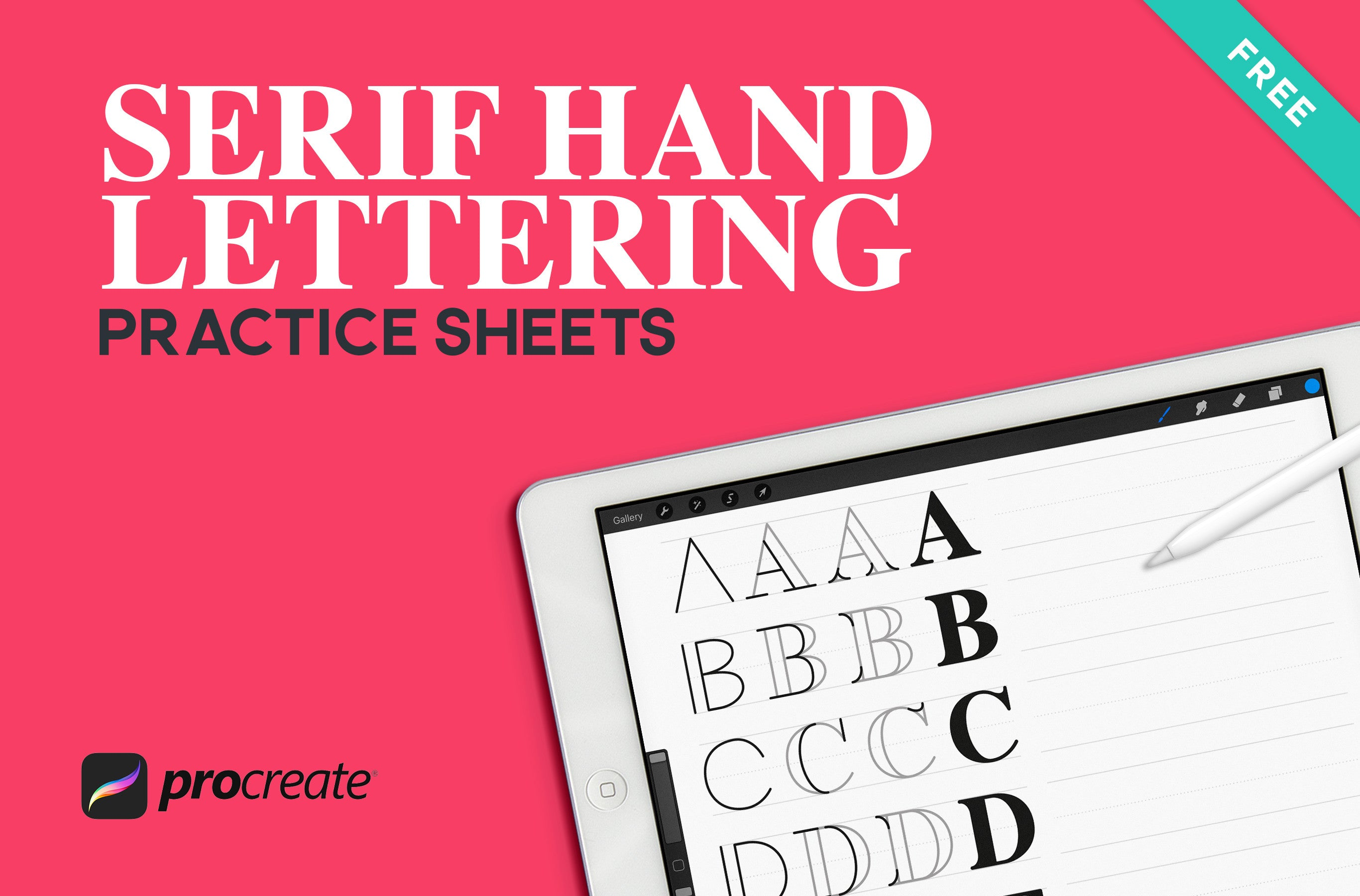 Serif Hand Lettering Worksheets for Procreate