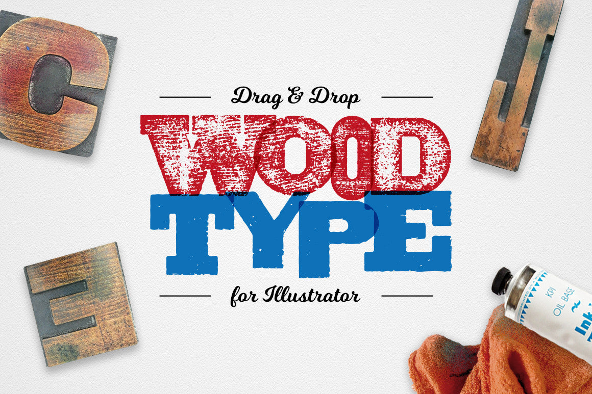 Drag & Drop WoodType for Illustrator