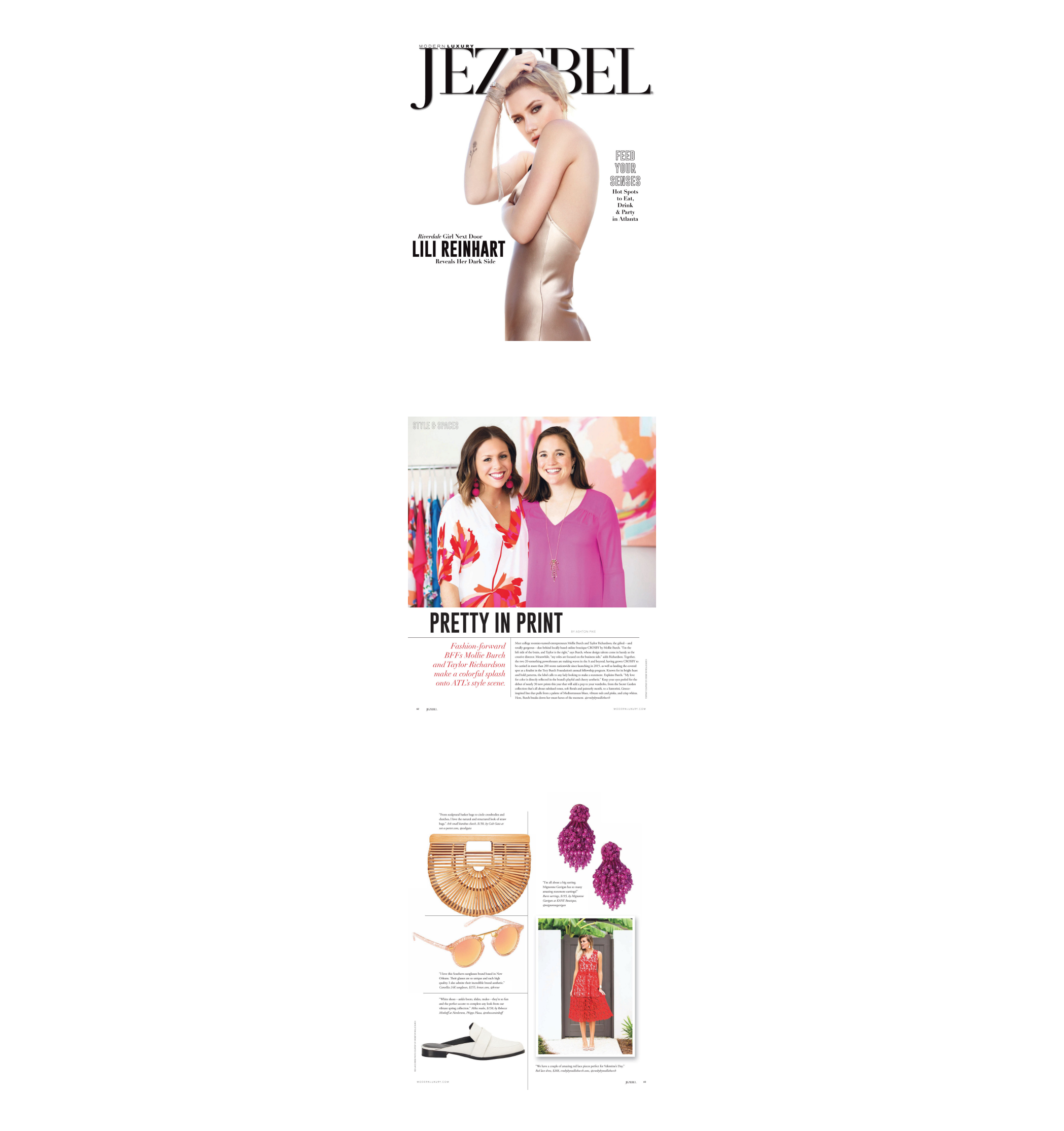Jezebel | February 2018 | Cover, Style in Spaces, Pretty in Print magazine article pages