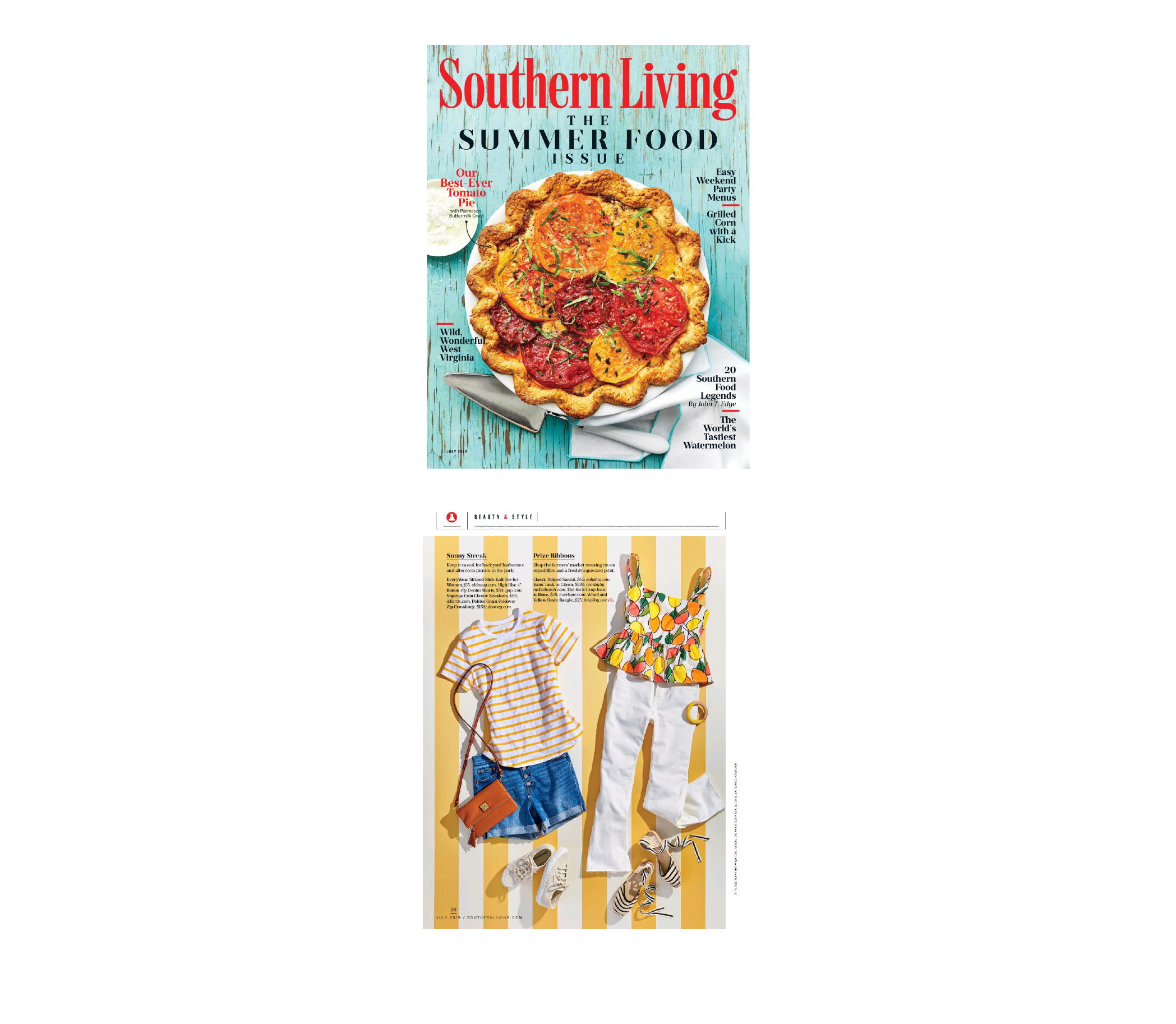 Southern Living | July 2019 Cover and Beauty and Style magazine article pages