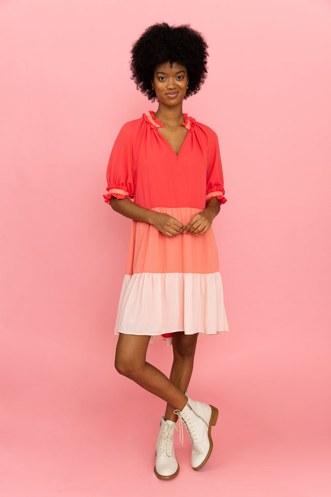 Ombre pink tiered above-the-knee dress