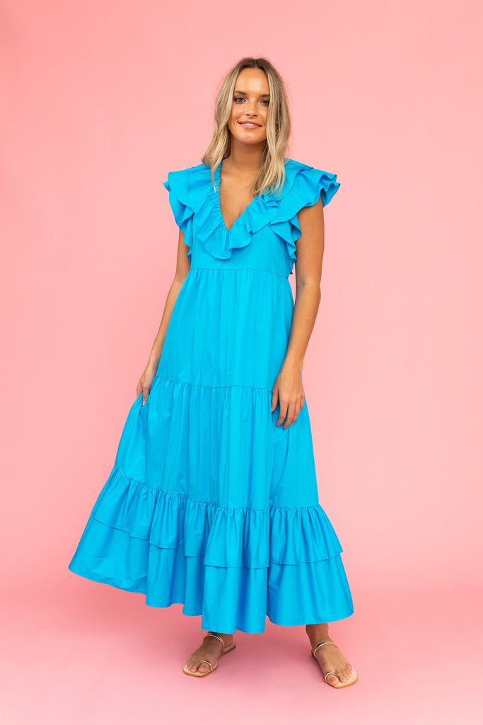 Vivd blue maxi dress with flutter sleeves and v-neck with ruffle detail