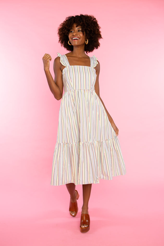 woman wearing cotton stripe sundress