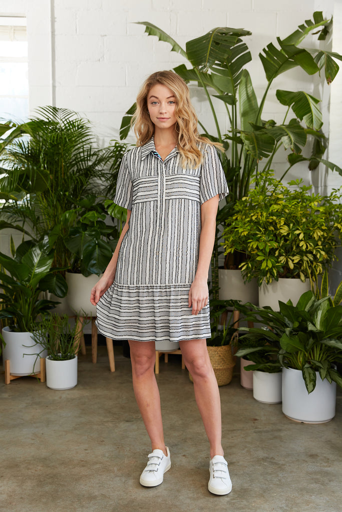 Striped shirtdress with flounce and contrasting placket