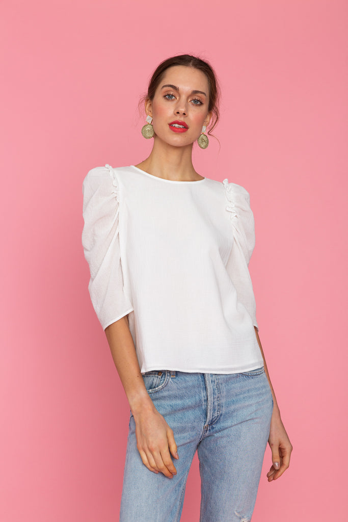Woman in puff sleeve white top