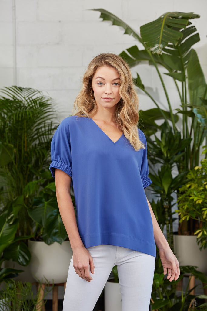 Solid blue v-neck tunic top