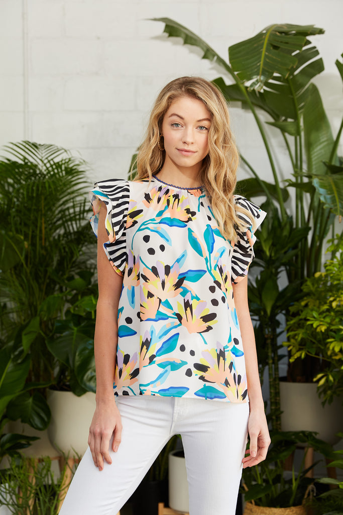 Abstract floral printed top with stripe details and double flutter sleeves