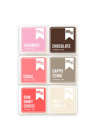 Ombre Pink-Chocolate Mini Ink Pads 6 Pack