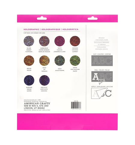 "Kit de Vinil adherible Glitter 12 x 12"" 20pz"