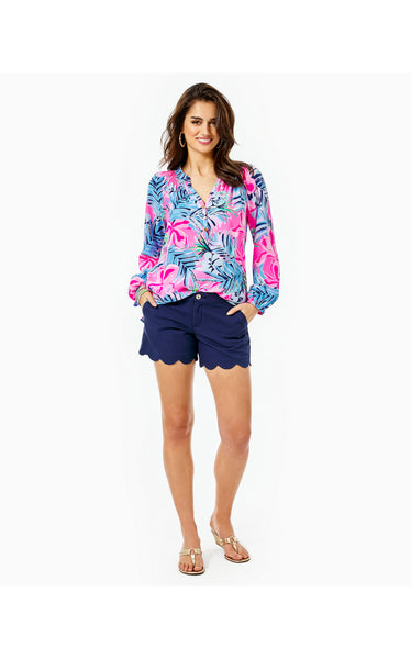 "5"" Buttercup Scallop Hem Short - True Navy"