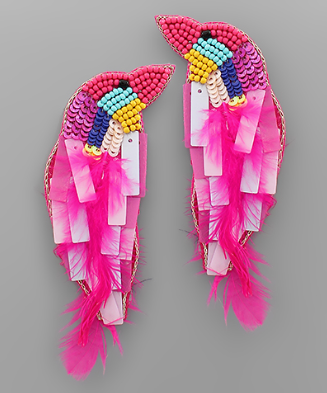 Bead & Feather Bird Earrings