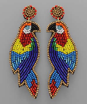 Load image into Gallery viewer, Multi Bead Parrot Earrings